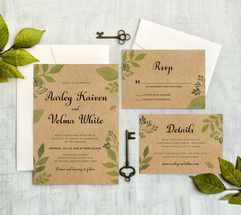Rustic Wedding Invitations With RSVP Cards Kraft Paper