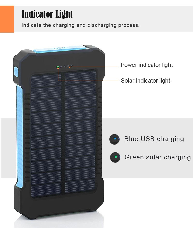 Waterproof Solar 30000mAh Solar Power Bank Charger 2 USB Ports External Charger Powerbank for Xiaomi with LED Light 4