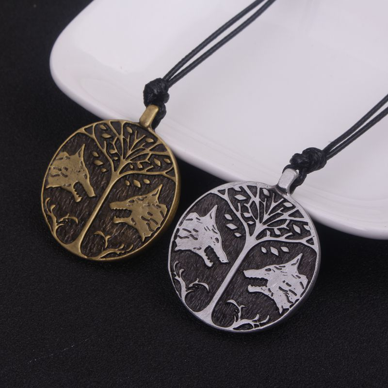 SC New Vintage Destiny Peace Tree Necklace Life Tree And Wolf Talisman Round Pandent Necklaces For Men Friend Best Game Gift