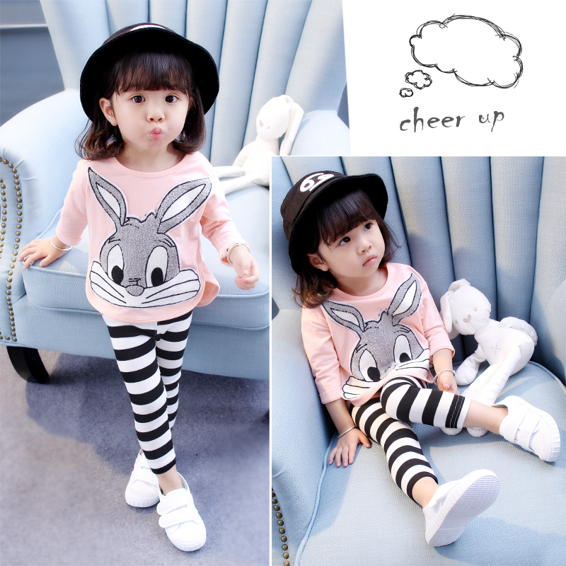 spring autumn 1-6 years old children clothing kids sets girls rabbit t shirt + striped pants 2 piece child set baby clothes sets