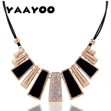 YAAYOO 2017 Luxury Simple Women Gold Plated Rhinestone Black Design Frosted Geometric Leather Chain Pendants Necklaces