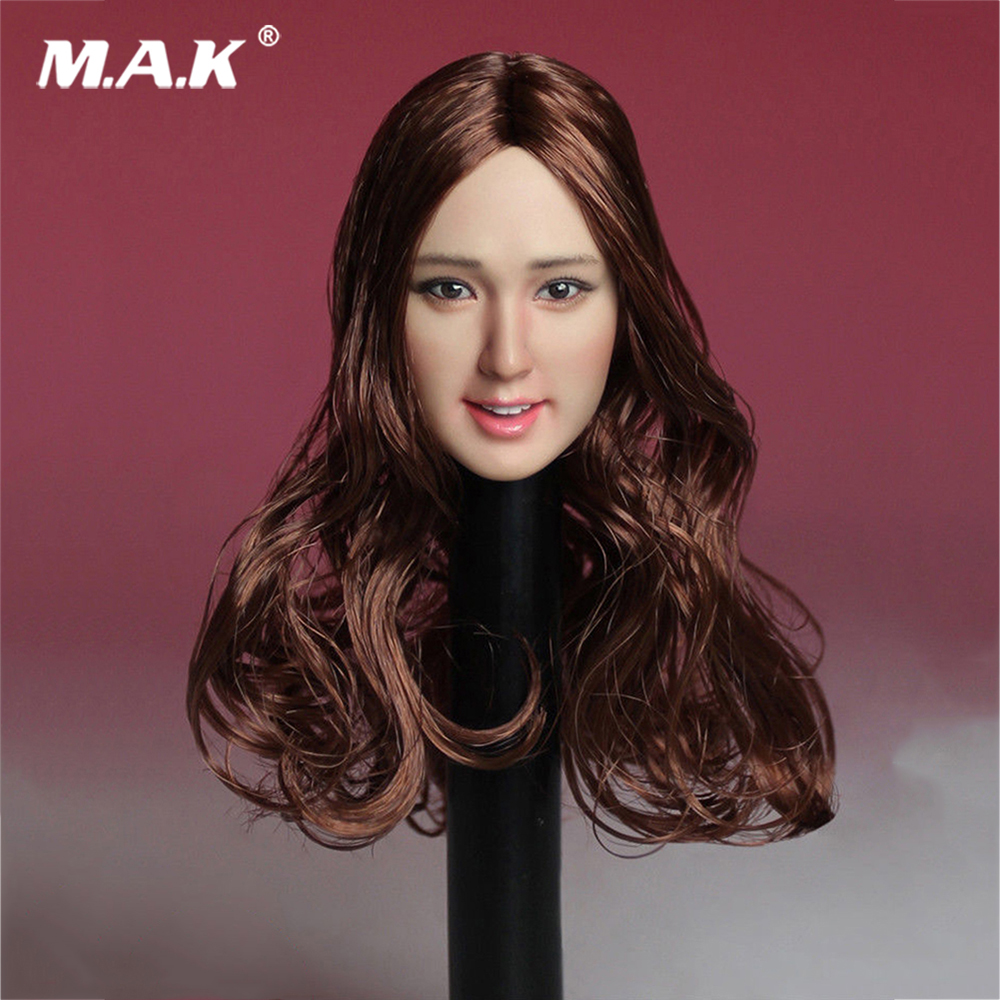 1:6 Scale SDH007-A Asia Beautiful Girl Head Sculpt with Brown Curly Long Hair Model Toy for 12 inches Action Figure футболка toy machine leopard brown
