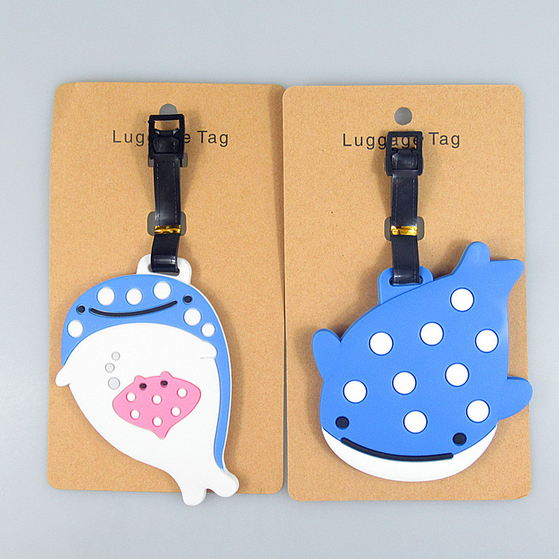 Travel Accessories Cute Cartoon Blue Whale Luggage Tags Name Suitcase ID Address Holder Baggage Boarding Tags