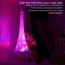 Romantic Light Eiffel Tower Night Paris Style Decoration 3D LED Lamp Fashion Colorful Table Bedroom Acrylic