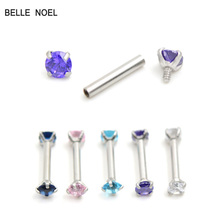 Stainless Steel Zircon Helix Straight Eyebrow Nail Piercing For Women Men Plugs And Tunnels Piercing Body Jewelry B48