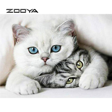 ZOOYA Diamond Painting Cat Embroidery Full Pack 3D DIY Kits Mosaic Decorative Rhinestone Needlework Gift RF1866