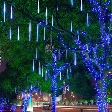 110V 220V 30cm Meteor Rain Tube led Xmas Garden street holiday lights for home Christmas tree Outdoor Indoor decoration light цена 2017