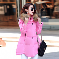 Adogirl Winter Women Down Faux Fur Collar Padded Coat New Fashion Long Sleeve A Line Long