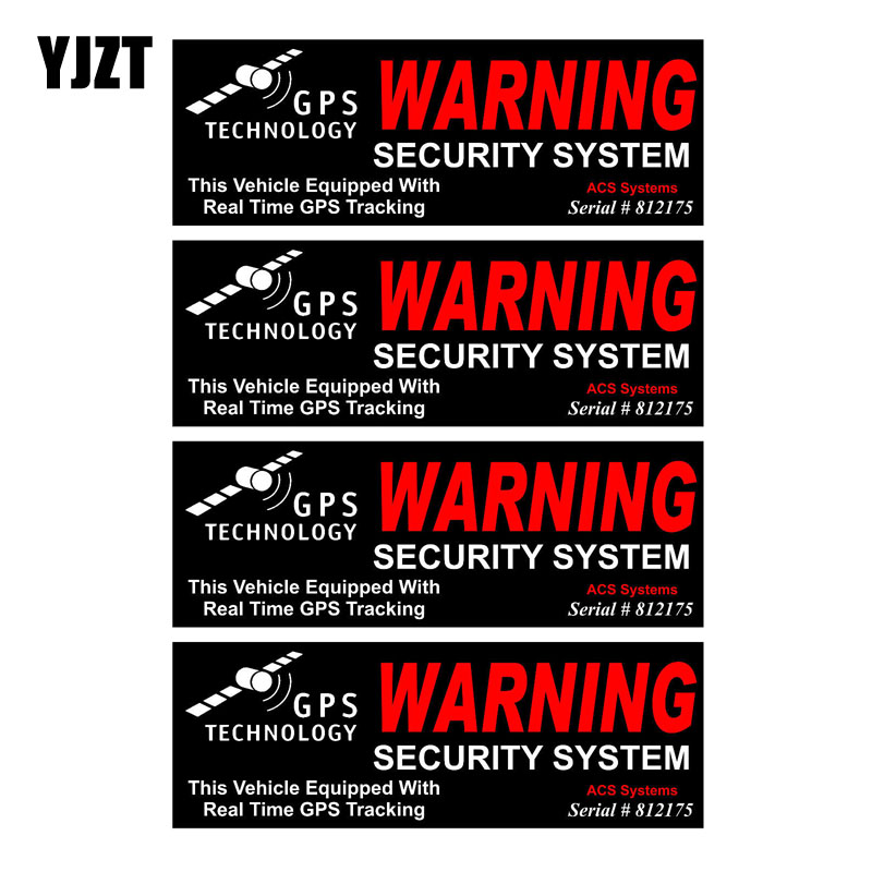 YJZT 10CM*3.5CM 4X GPS WARNING SECURITY SYSTEM Personality Reflective Car Sticker C1-7579