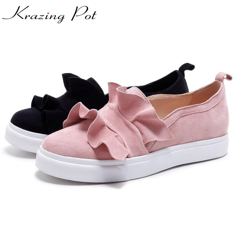 Krazing Pot sheep suede med heels wedges slip on casual leisure round toe loafers sneakers increased women vulcanized shoes L29 цена 2017
