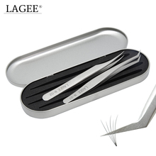 LAGEE Tinplate Case Stainless Steel Anti static Tweezers Curved Tweezers Set  for Eyelash Extensions Mink Lashes Makeup Tools