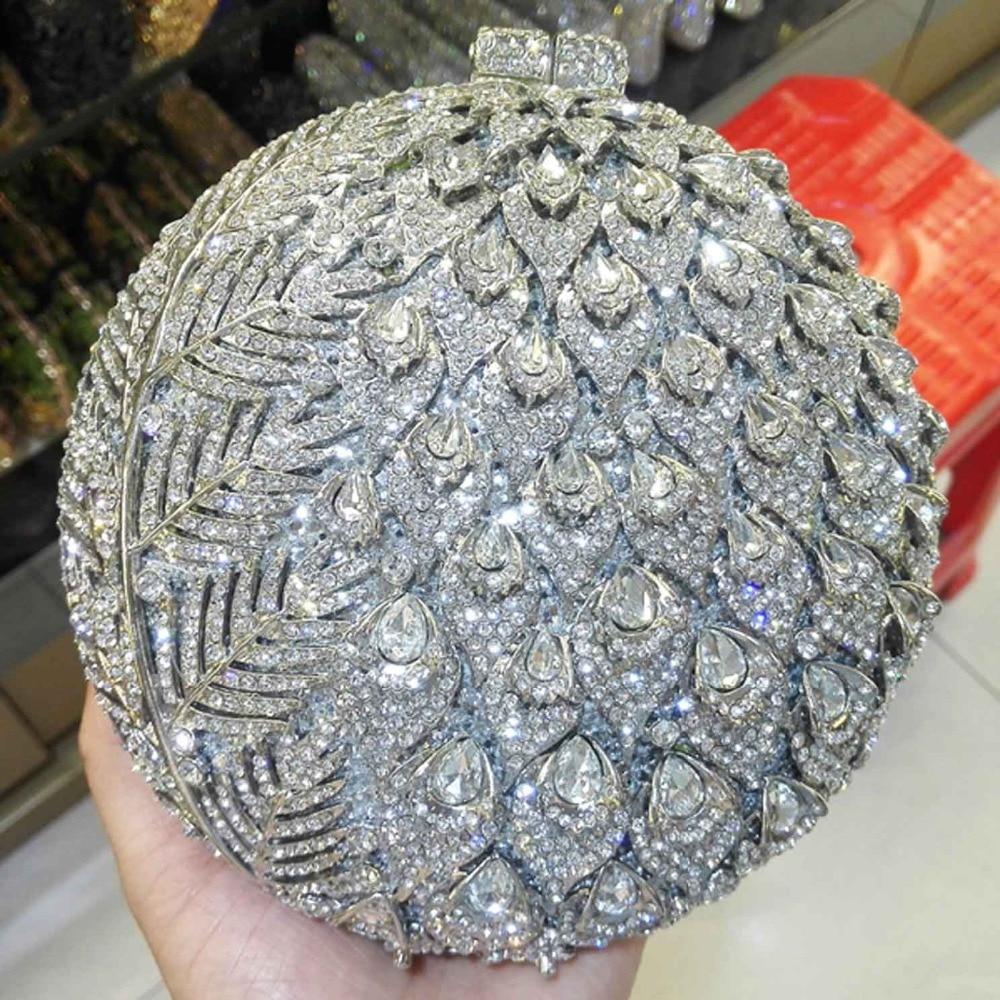 แฟชั่นกระเป๋าคลัทช์คริสตัลกระเป๋า soiree pochette กระเป๋าสตางค์สุภาพสตรี ball shape gold งานแต่งงานกระเป๋าถือ SC036-ใน กระเป๋าหูหิ้วด้านบน จาก สัมภาระและกระเป๋า บน   1