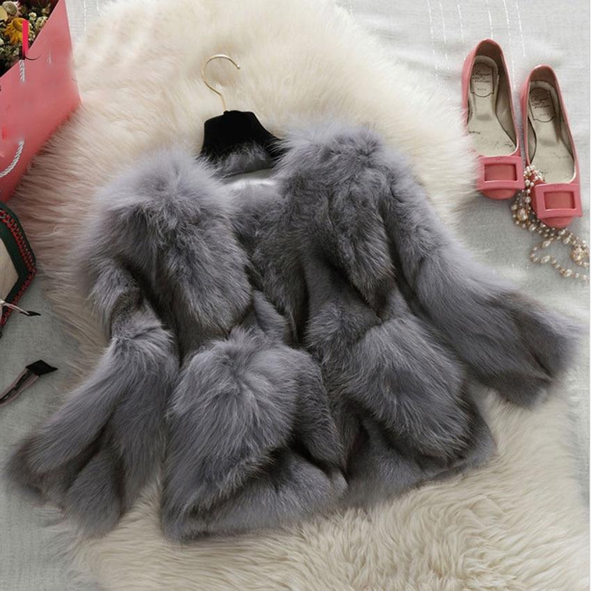 100% Fox Real Fur Coat Women 2018 New Arrival Winter Fashion Nine Quarter Sleeve O neck Thick Warm Jackets Natural Coats Jacket