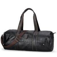 2018 Hot Men's Large Capacity PU Leather Sports Bag Gym Bag Fitness Travel Shoulder Handbag Male Bag Black Brown sac de sport