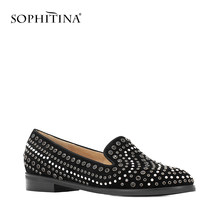 Sophitina Mode Flats Vol Klinknagel Ronde Neus Loafers Vrouw Schoenen Handgemaakte Zwarte Kid Suede Schoenen Wedding Party Lady Flats p18(China)