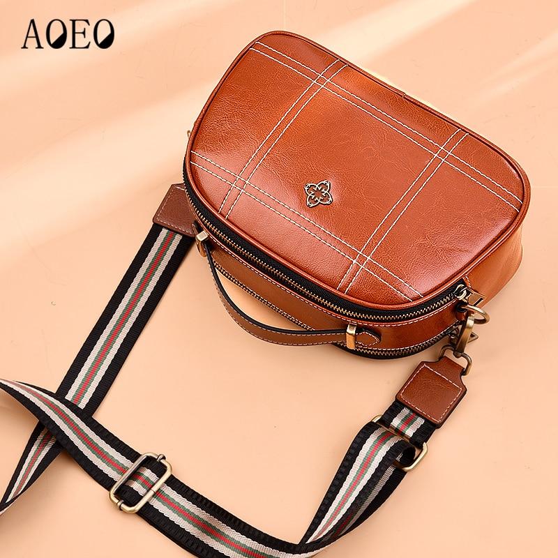 AOEO Lady Crossbody Bags For Women Handbag Brand Luxury Split Leather 2019 Free Two Shoulder Strap