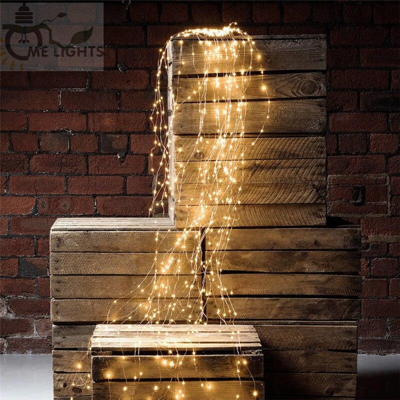 12 V 600 leds vides luces de alambre de cobre rama luces llevó luces de hadas luces de la secuencia para Cafe Bar boda de la Navidad decoración del partido