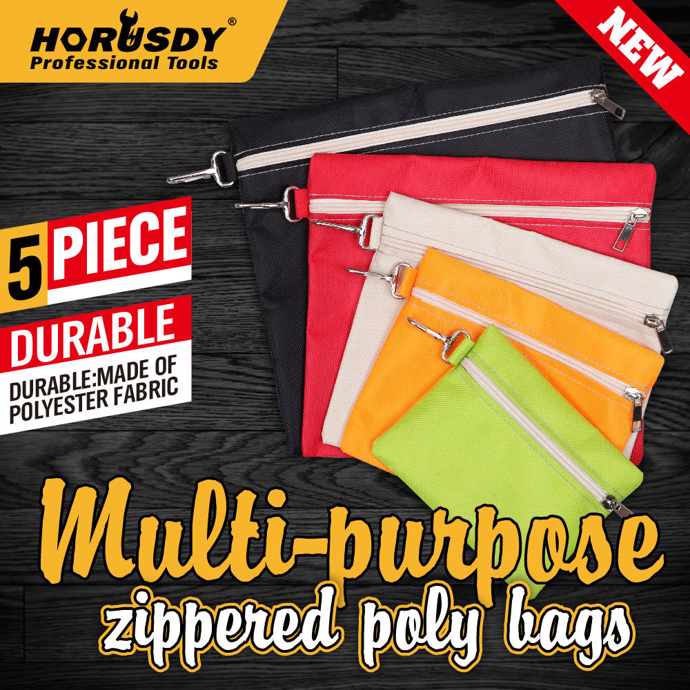 HORUSDY 5Pcs Multi-Purpose Zipper Tool Bags Set Organize Storage Pouch Canvas Clip-On for Storing Screw Portable Bag