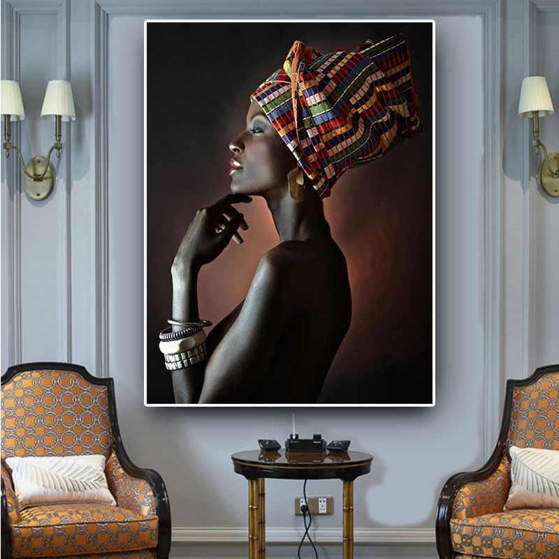 Africain Femme Nue Indien Bandeau Portrait Toile Peinture