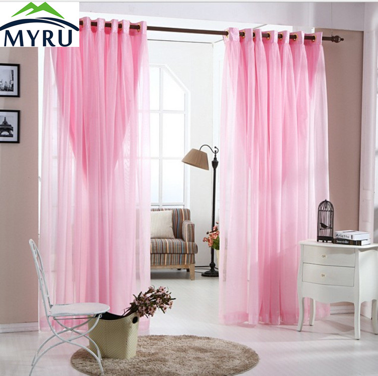 MYRU Pastoral Lace Curtains Romantic Living Room Bedroom Curtains Pink Curtains For Girls