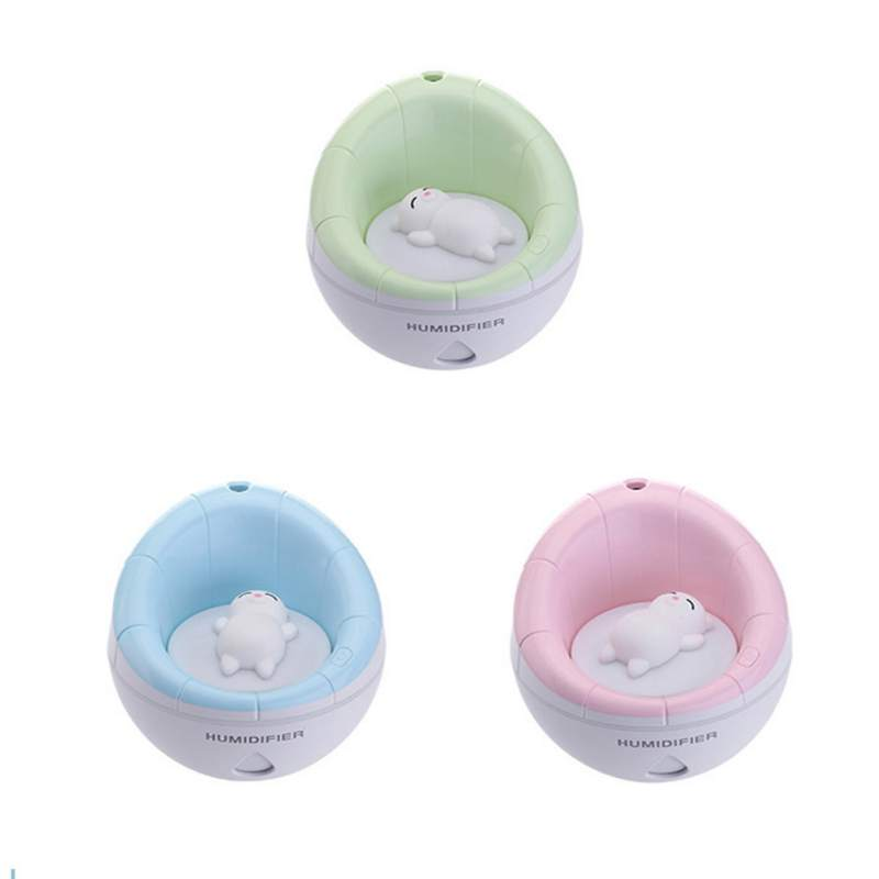 3 In 1 Cute Air Humidifier USB With LED Night Light Small Fan Noise Reduction Dry-fire Protection Spray 350ml for Home Office