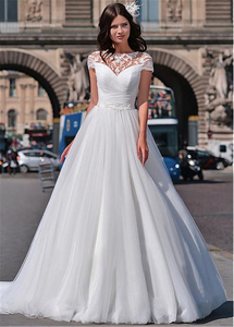 Image 2 - Wonderful Tulle Jewel Neckline A line Wedding Dresses With Beaded Lace Appliques Short Sleeves Bridal Dresses lace dress