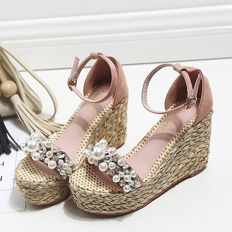 Summer New Bandage Pearl Handmade Rhinestone Wedge Heels Platform Thick bottomed Toe High heeled Sandals.