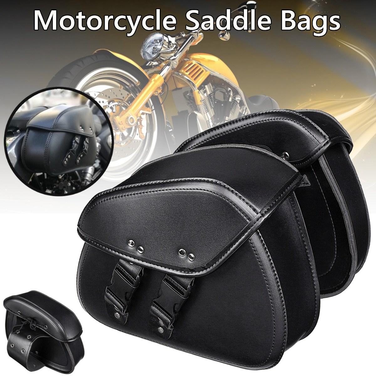 Paire cuir synthétique polyuréthane noir sac à outils moto bagage sacoches de selle rangement pour Yamaha pour Honda Universal