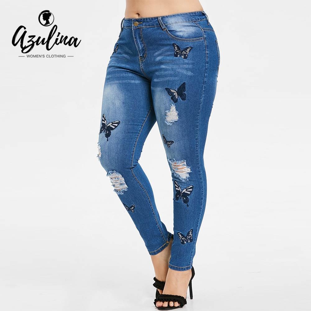 AZULINA Plus Größe Schmetterling Distressed Gestickte Jeans Frauen Hose Dünne Hohe Taille Bleistift Hosen Denim Jean Damen Hosen