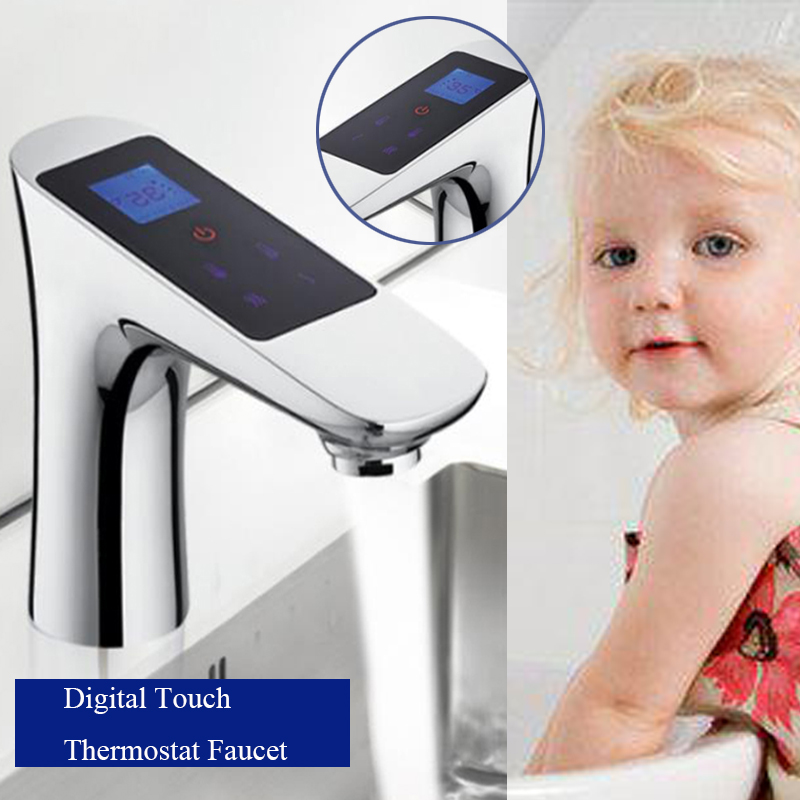 JMKWS Deck Mounted LCD Digital Display Basin Faucet Touch Screen Thermostatic Bathroom Single Tap Chrome Brass Faucets Washbasin china sanitary ware chrome wall mount thermostatic water tap water saver thermostatic shower faucet