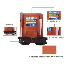 Leather Auto Sunshade Visor Storage Bag Car Sunvisor Card Glasses Bill Pen Holder Stowing Tidying Car Organizer Black Beige