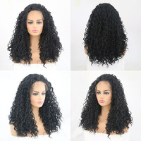 Rongduoyi Kinky Curly Type Heat Resistant Hair Black Color Synthetic Wig With Baby Hair 150% Lace Front Party Wig Cosplay Wig