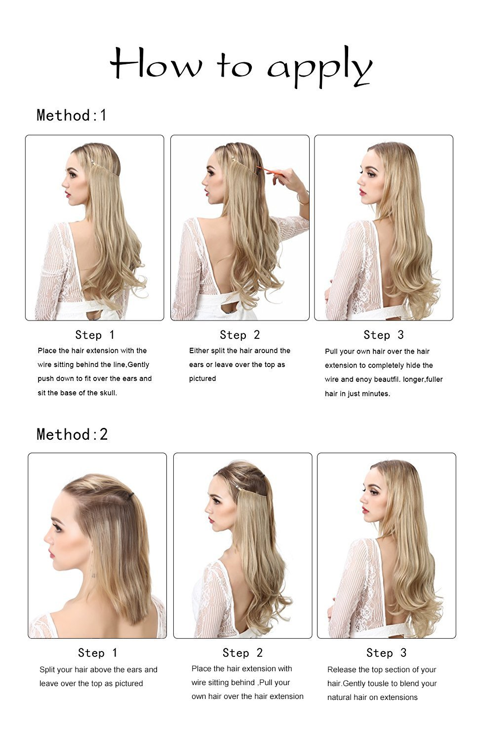 Sarla 10pcs14 16 18 Synthetic Halo Hair Extensions Wire Hidden