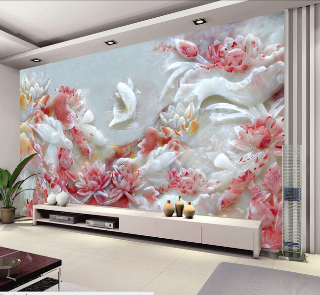 Custom 3D wallpaper, embossed lotus and fish murals for the living room bedroom TV background wall waterproof wallpaper