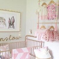 Lovely Tassel Wooden Beads Clothes Rack Kids Room Decor Wall Hanger Ornament Home Decor XH8Z JY18