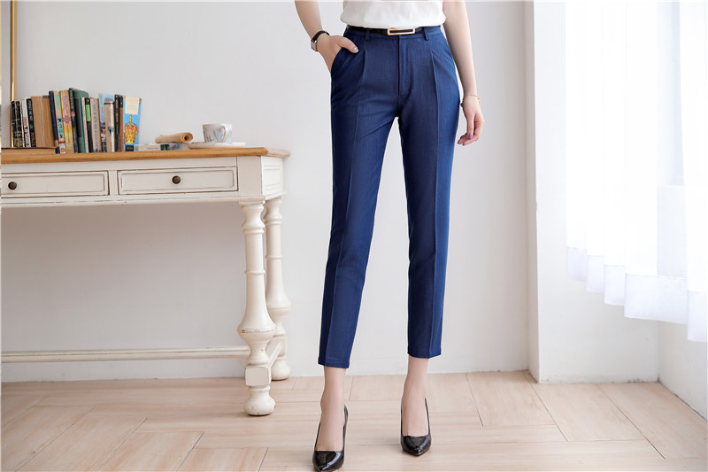 2019 Spring and Summer New Women's Trousers Korean Styles Temperament OL Slim Leisure professional Pants Capris