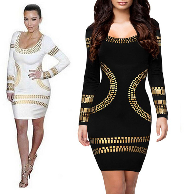 9e5bf5e9de7 FEIBUSHI Women Elegant Vintage dress Sexy Slim Gold Printed Cotton Long  Sleeve Casual Bodycon kim kardashian Club Dress