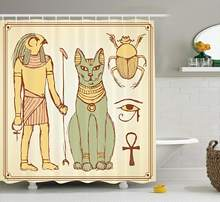 Egyptian Shower Curtain Set Graphic Ancient Egyptian Religious Icons Cat Figure Retro Style Bathroom Accessories Cream Yellow(China)