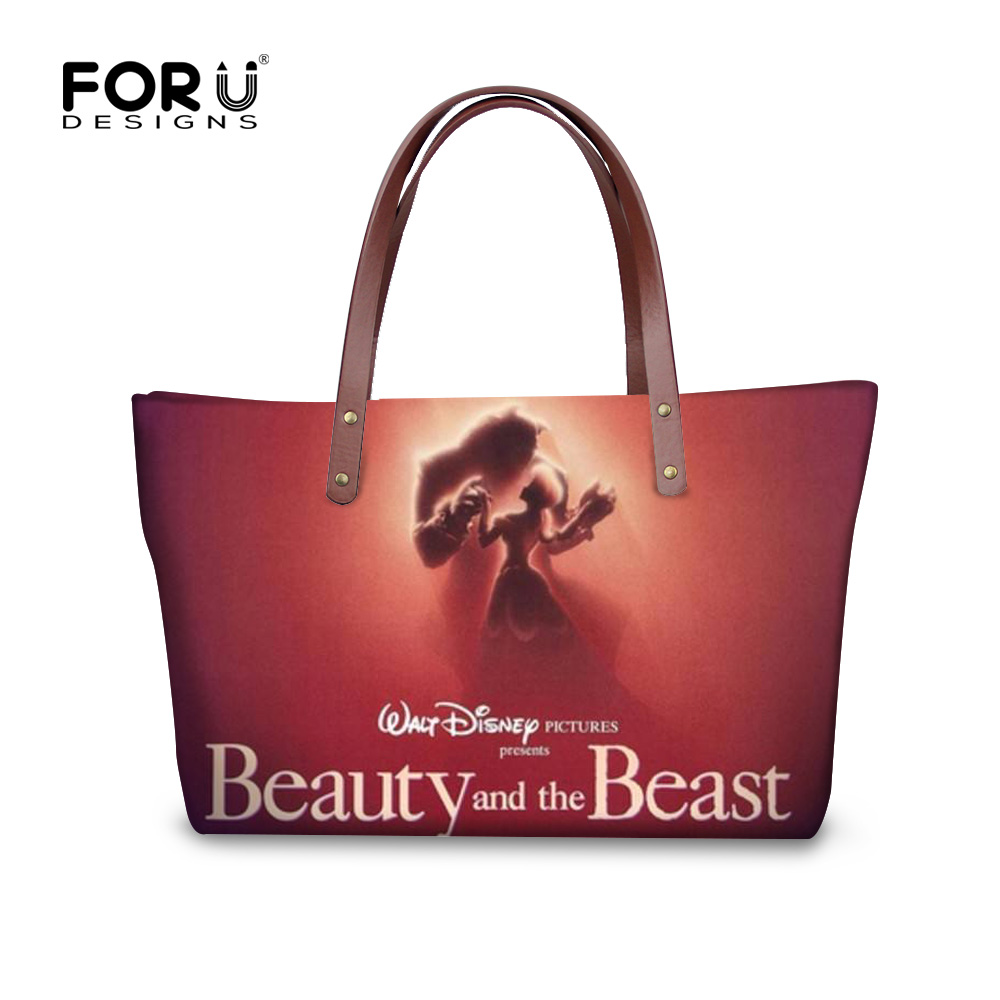 FORUDESIGNS High Quality Women Handbag Casual Large Capacity Bag Fashion Beauty and the beast Female Totes Bolsas Shoulder Bag high quality travel canvas women handbag casual large capacity hobos bag hot sell female totes bolsas ruched solid shoulder bag