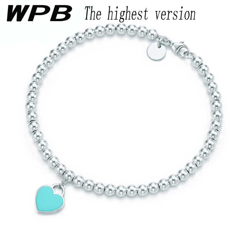 WPBS925 Sterling Silver Enamel Classic Bead Bracelet Charm Heart Shape Light Blue Bead Bracelet Temperament Female Gift Tiff