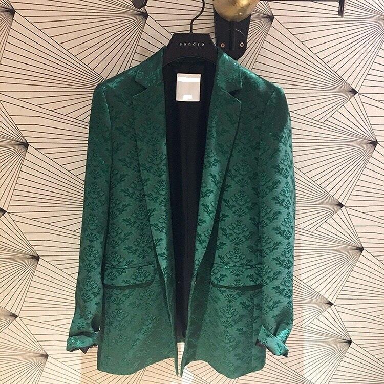 Lady Vert Blazer Des Jacquard Chute Qualité De D'hiver Imprimer Tempérament 2018 Femmes Manteau Casual Et Nouvelle Haute Nouveau Fleur xUnaFwCx