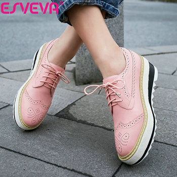 ESVEVA 2019 Lace Up Women's Vulcanize Shoes Round Toe Shoes Western Style Women Shoes Pumps High Heels Cow Patent Leather 34-39