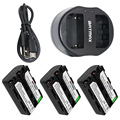 3-Pack NP-FM50 NP FM50 Аккумуляторы для камеры и двойное зарядное устройство USB для Sony NP-FM51 NP-QM50 NP-FM30
