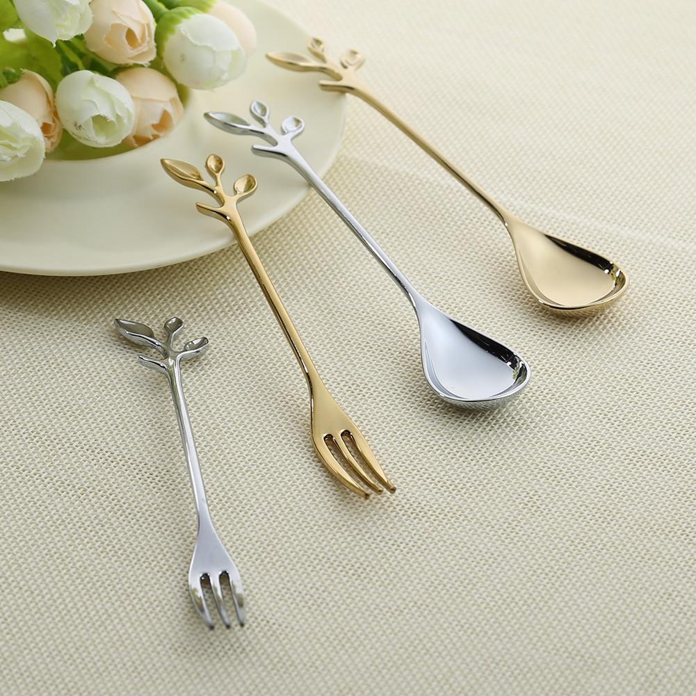 Leaf Shape Gold Silver Coffee Spoon Fork font b Kitchen b font font b Dining b