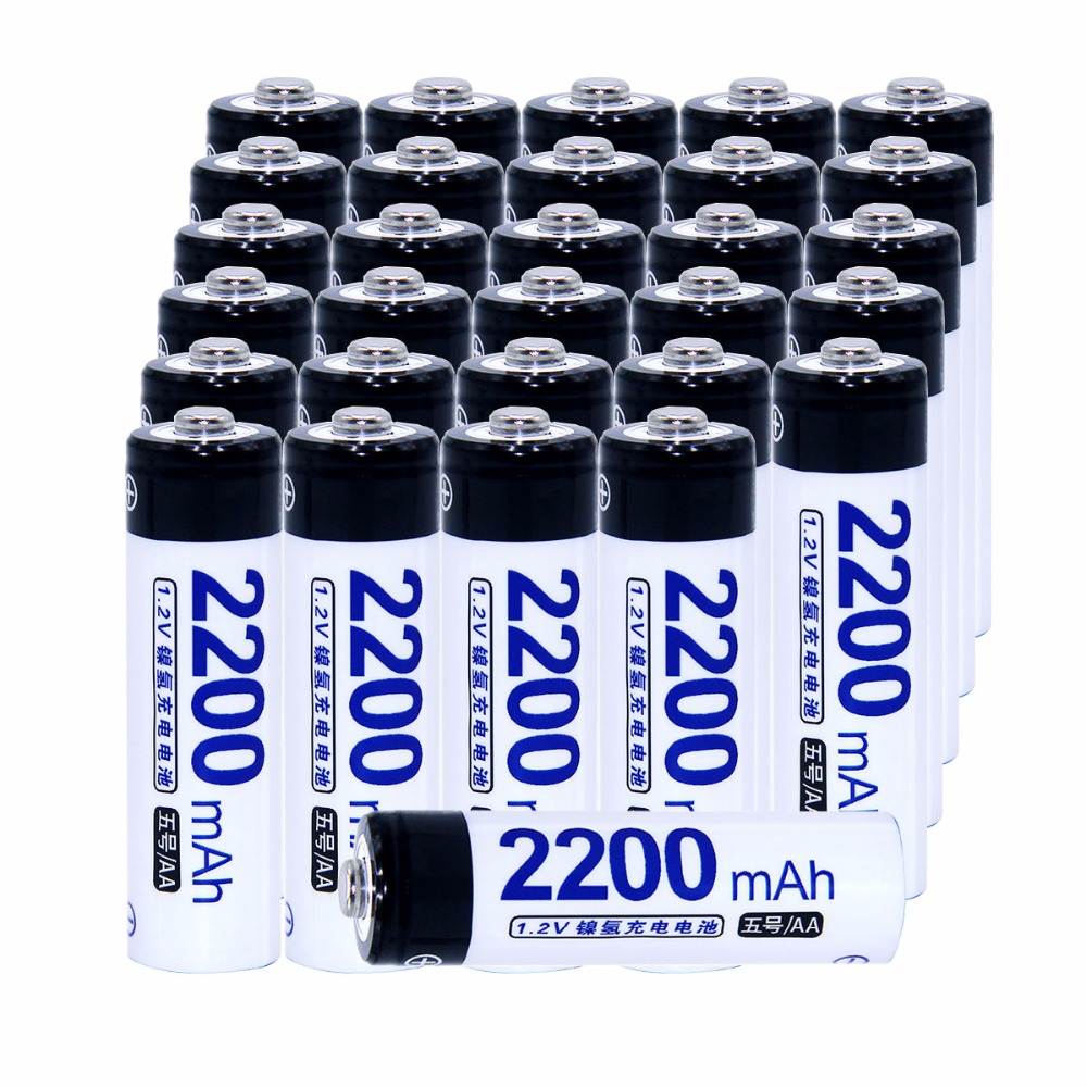 Real capacity! 30 pcs AA portable 1.2V NIMH AA rechargeable battery 2200mah for camera razor toy remote control flashlight 2A