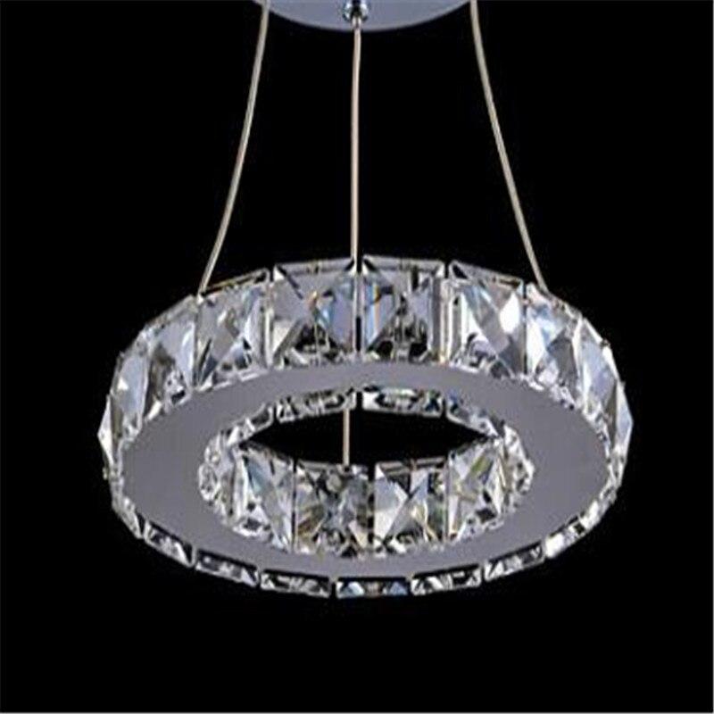 цена на LED Transparent k9Crystal pendant lamp for Aisle Porch Hallway 20CM Crystal Ring dining light wth LED Light Bulb 8 Watt 110-220V