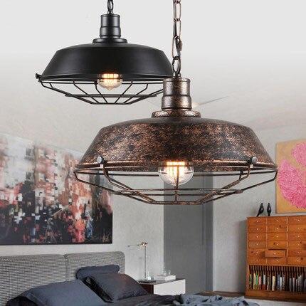Dia 36CM Nordic Retro Lamp Country Style Bar Loft Vintage classical Metal frame pendant Lighting Free Shipping