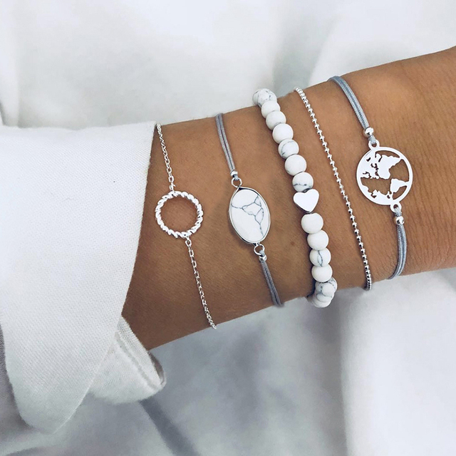 Bohemian Gem Peach Heart Bead Map Circle Crystal Silver Bracelet