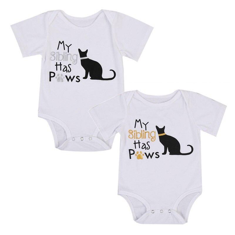 Cotton Newborn Baby Boy Girls Kids Clothes Short Sleeve Letter Cat Print Bodysuit Playsuit Infant Jumpsuit Sunsuit Outfits 0-2Y