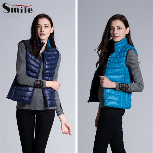 e59b4f41e7d Women Down Vest Jacket Reversible Winter Warm Ladies Double Face Ultra  Light Down Vests Sleeveless Jackets Waistcoat for Women